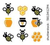 bee and honey  honeycomb vector ... | Shutterstock .eps vector #581341294
