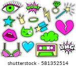 cute chic fashion patch badges... | Shutterstock .eps vector #581352514