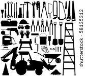 construction tool silhouette... | Shutterstock .eps vector #58135312