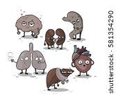 vector cute cartoon organs set...   Shutterstock .eps vector #581354290