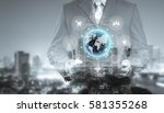 double exposure of businessman... | Shutterstock . vector #581355268