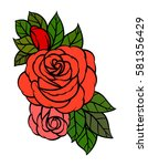 flowers roses  red buds and... | Shutterstock .eps vector #581356429