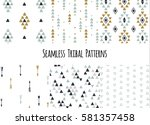 set of modern seamless hand... | Shutterstock .eps vector #581357458