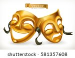 gold theatrical masks. comedy... | Shutterstock .eps vector #581357608