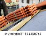new roof construction on a... | Shutterstock . vector #581368768