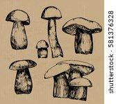 mushroom vector sketch   Shutterstock .eps vector #581376328