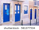 beautiful old tiny houses  blue ... | Shutterstock . vector #581377534