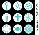 vector spiritual symbols set | Shutterstock .eps vector #581393380