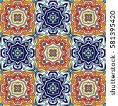 portuguese azulejo tiles. blue... | Shutterstock .eps vector #581395420