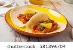 mexican food  tacos with spicy...   Shutterstock . vector #581396704