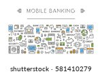 linear concept mobile payments. ... | Shutterstock .eps vector #581410279