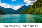 ritsa lake  abkhazia. beautiful ... | Shutterstock . vector #581413414
