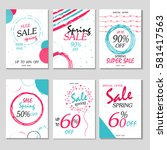 set of 6 spring discount cards...   Shutterstock .eps vector #581417563