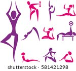 set of yoga and sport icons | Shutterstock . vector #581421298