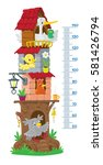 meter wall or height chart with ... | Shutterstock .eps vector #581426794