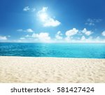 sunny tropical beach and... | Shutterstock . vector #581427424