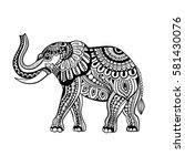 vector of elephant in zentangle ... | Shutterstock .eps vector #581430076
