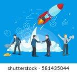 business startup work moments.... | Shutterstock .eps vector #581435044
