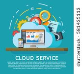 cloud computing services banner ... | Shutterstock .eps vector #581435113