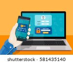 flat man sitting at desktop and ... | Shutterstock .eps vector #581435140
