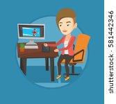 caucasian woman sitting at desk ... | Shutterstock .eps vector #581442346