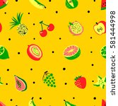 tropical exotic fruits seamless ... | Shutterstock .eps vector #581444998