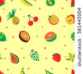 tropical exotic fruits seamless ... | Shutterstock .eps vector #581445004