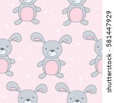 seamless pattern with cute... | Shutterstock .eps vector #581447929