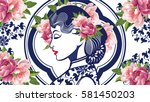 vector blue and white chinese... | Shutterstock .eps vector #581450203