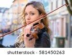 Young Beautiful Woman Violin...