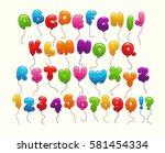 funny balloon alphabet.... | Shutterstock .eps vector #581454334