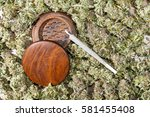 wood grinder and spliff with... | Shutterstock . vector #581455408