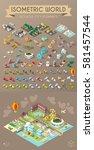isometric world on dark... | Shutterstock .eps vector #581457544