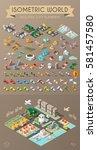 isometric world on dark... | Shutterstock .eps vector #581457580