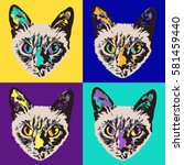 vector pop art siamese cat.... | Shutterstock .eps vector #581459440