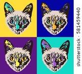 vector pop art siamese cat.... | Shutterstock .eps vector #581459440