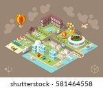 set of isolated isometric... | Shutterstock .eps vector #581464558