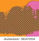 waffle on background and in... | Shutterstock .eps vector #581473534
