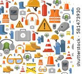 job safety flat icons.... | Shutterstock .eps vector #581473930