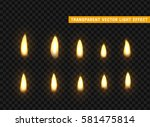 fire flames set isolated... | Shutterstock .eps vector #581475814