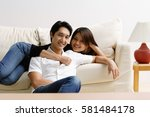 woman lying on sofa  man... | Shutterstock . vector #581484178