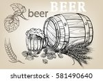 icon with mug  beer  hops ... | Shutterstock .eps vector #581490640