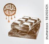 bar of chocolate hand drawn...   Shutterstock .eps vector #581502424