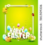 cute easter template with... | Shutterstock .eps vector #581509336