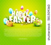 cute easter template with... | Shutterstock .eps vector #581509360
