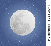 moon on blue background with...   Shutterstock .eps vector #581510044