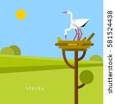 two stork in the nest. vector... | Shutterstock .eps vector #581524438