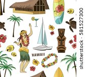hawaiian  hawaii set pattern | Shutterstock .eps vector #581527300