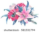 pink lily flower watercolor... | Shutterstock . vector #581531794