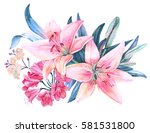 pink lily flower watercolor... | Shutterstock . vector #581531800